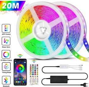 Bande LED 20M 5050 RGB 600 LEDs Bande Lumineuse Flexible Mu Ruban LED Bluetooth