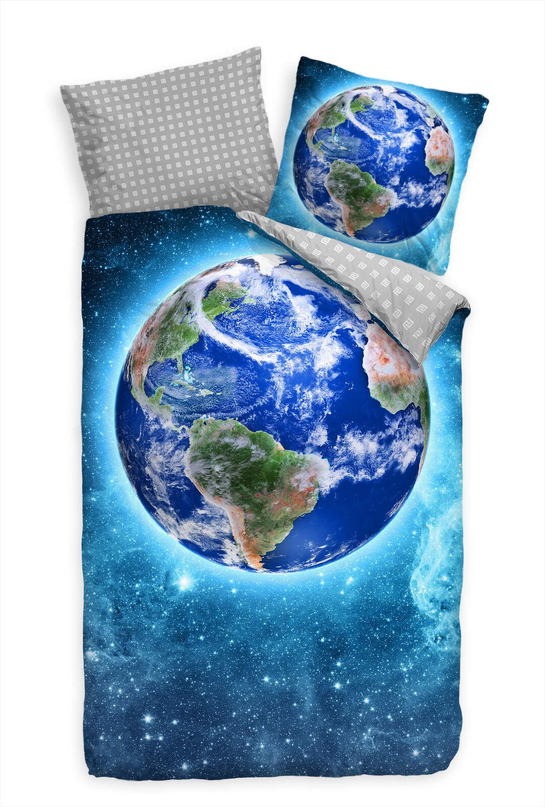 Erdkugel Blau Weltall Sterne Bettwäsche Set 135x200 cm + 80x80cm  Atmungsaktiv