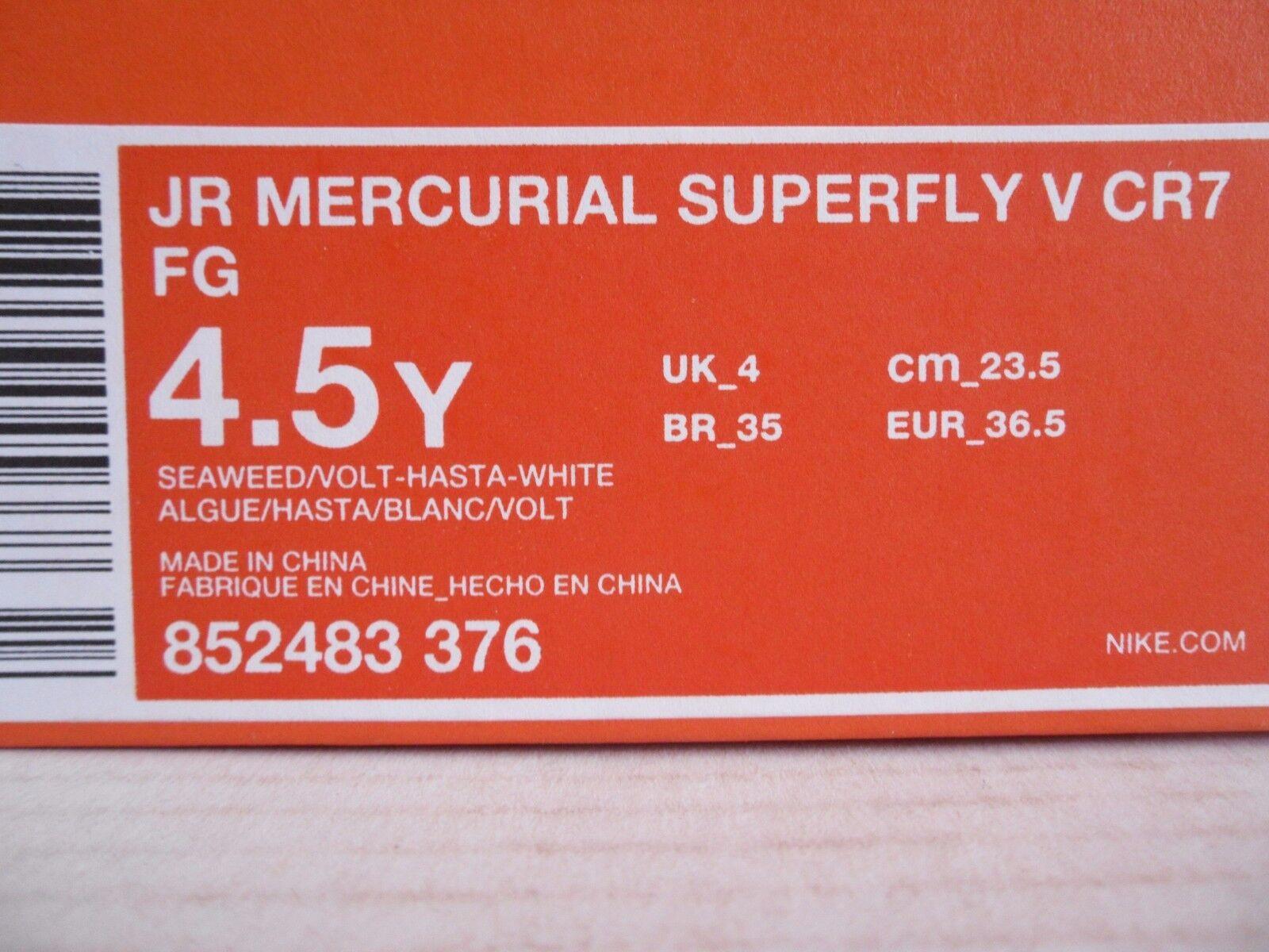 NIKE JR MERCURIAL SUPERFLY SUPERFLY SUPERFLY V CR7 FG SEAWEED SZ 4.5Y-WOMENS SZ 6 09bf09