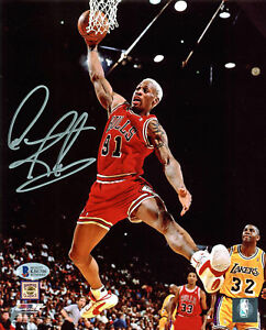 Bulls-Dennis-Rodman-Authentic-Signed-8x10-Photo-Vs-Lakers-BAS-Witnessed