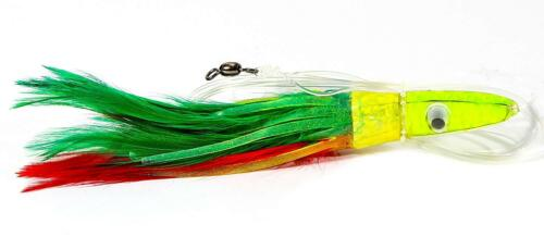 """6//0 Hook Pick Color 4 Pack Boone Tuna Treat 6/"""" Rigged Feather Trolling Lure"""