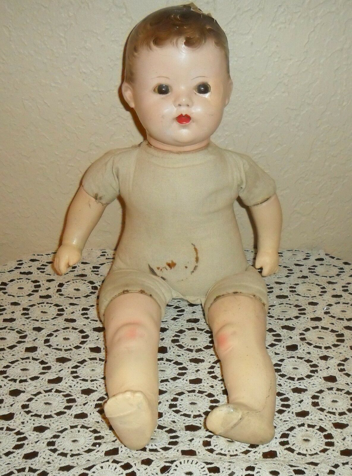 SIGNED, A HORSMAN, ANTIQUE BABY MAMA CRYER DOLL MOVING EYES