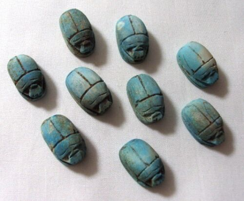 12 Egyptian Scarab Beetle HANDMADE Ceramic Stone Beads for Jewelry XS RARE 205