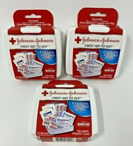 Johnson & Johnson 12 pc First Aid Kit To Go Emergency Kits ~ Lot Of 3