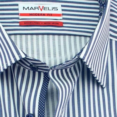 MARVELIS Hemd MODERN FIT MAXI streifen halbarm mit Kontrast