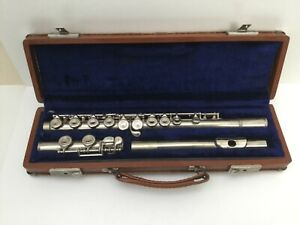 F-E-Olds-amp-Son-Ambassador-Vintage-Nickel-Silver-Flute-in-Original-Case