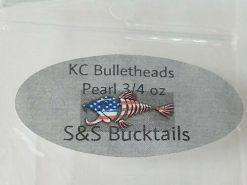 """2 S/&S 3//4 Oz Pearl /""""Bullethead Jigs/"""" 4 Kettle Creek Paddletails MADE IN USA"""