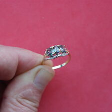 SPLENDID 9CT SOLID YELLOW GOLD MYSTIC TOPAZ & DIAMOND RING O IN GIFT BOX