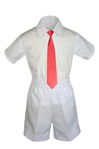 3pc Set Boy Toddler Formal party Red Clipon Necktie Black Dark Khaki Shorts S-4T