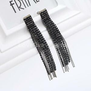 Image Is Loading Silver Black Crystal Rhinestone Tel Long Dangle Earrings