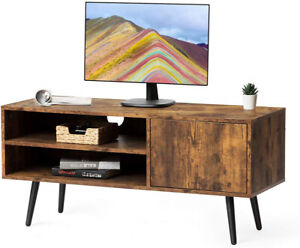 2-Tier-TV-Stand-Console-Table-W-Cabinet-amp-Shelves-Living-Room-Storage-Furniture