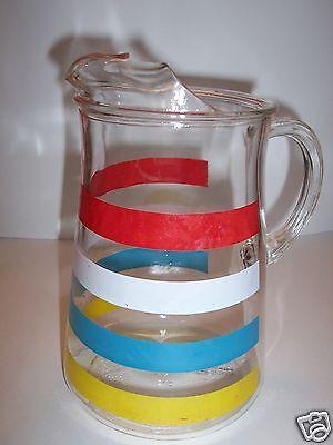 1950s-60 Retro Color Banded Glass Beverage Serving Pitcher w/ Ice Lip. EUC.