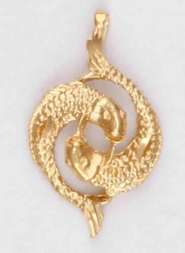 PISCES Two Fish Zodiac Charm Pendant 24k Yellow Gold Plated Astrological Sign