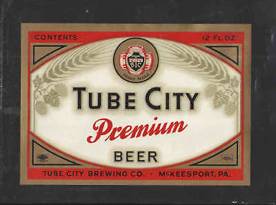 Unused 1950s Tube City Premium dull McKeesport Beer Label Tavern Trove PA