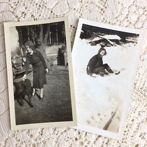 Antique Photo Girl Dog Car Snow Mountain Town Mineral Durham California Franklin