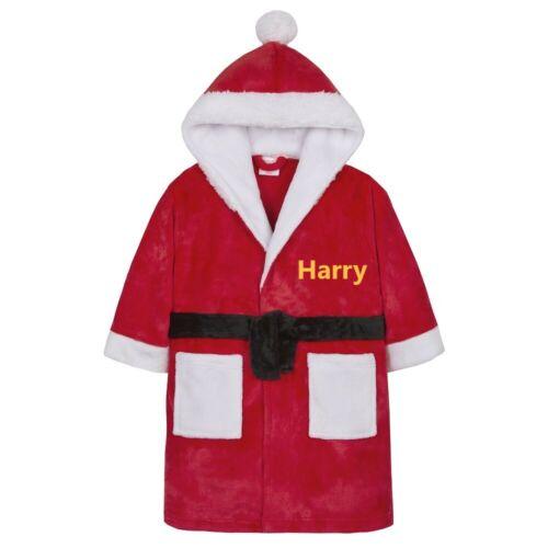 Personalised XMAS Kid Dressing Gown Robe  Boy//Girl Christmas Fleece Plush