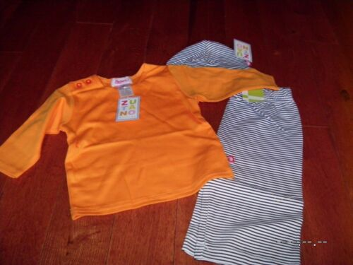 HALLOWEEN  ZUTANO 3 Pc Set 6M 24M Pants Shirt Hat Orange Stripe Unisex Boy Girl