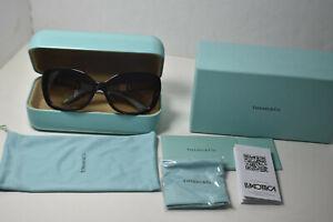 *NEW Tiffany & Co MOP Heart Sunglasses Havana/Blue Frame TF4085-H, Case, Box-ALL