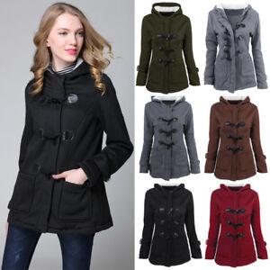 UK Plus Size Women Hooded Casual Duffle Coat Lady Outwear Trench ...