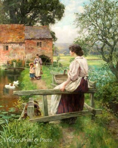 Yeend King Country Scene Mother Child Pond  8x10  Print 377 By the Water Mill