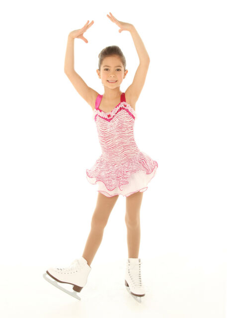 NEW COMPETITION SKATING DRESS Elite Expression White Pink Print 1371 CL 10/12