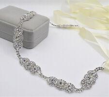 Stunning Floral Crystal Bridal Belt Sash Wedding Accessories Any Colour Ribbon