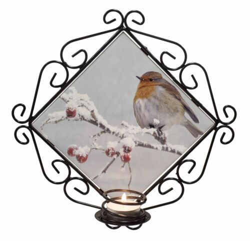 Robin on Snow Berries Branch Wrought Iron T-light Candle Holder Gift AB-R23CH
