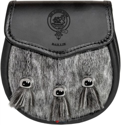 Baillie Semi Dress Sporran Fur Plain Leather Flap Scottish Clan Crest