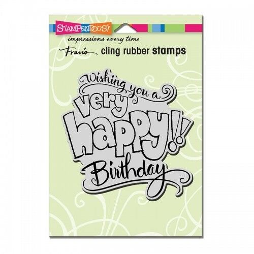 STAMPENDOUS Cling Penned Anniversary Rubber Stamp
