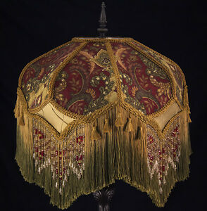 Victorian lamp shade paisley damask burgundy gold green beading image is loading victorian lamp shade paisley damask burgundy gold green aloadofball Choice Image