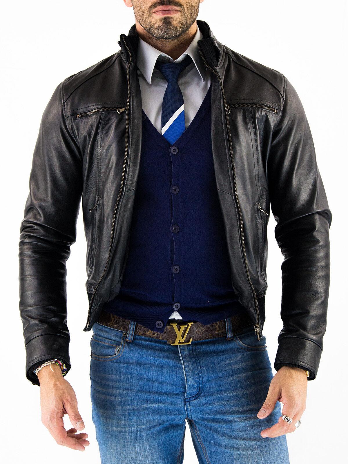 DE Herren Lederjacke Biker Férfi bőr kabát kabát Homme Veste En cuir T9HYb3