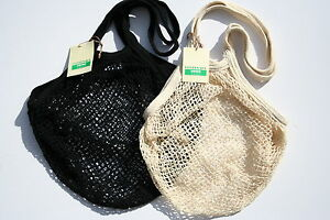 2 x  String//net Shopping Bag made from recycled unbleached cotton,Short Handles