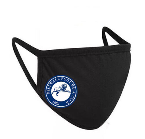 Millwall Football Club FC The Lions Face Covering Mask 2-ply Black