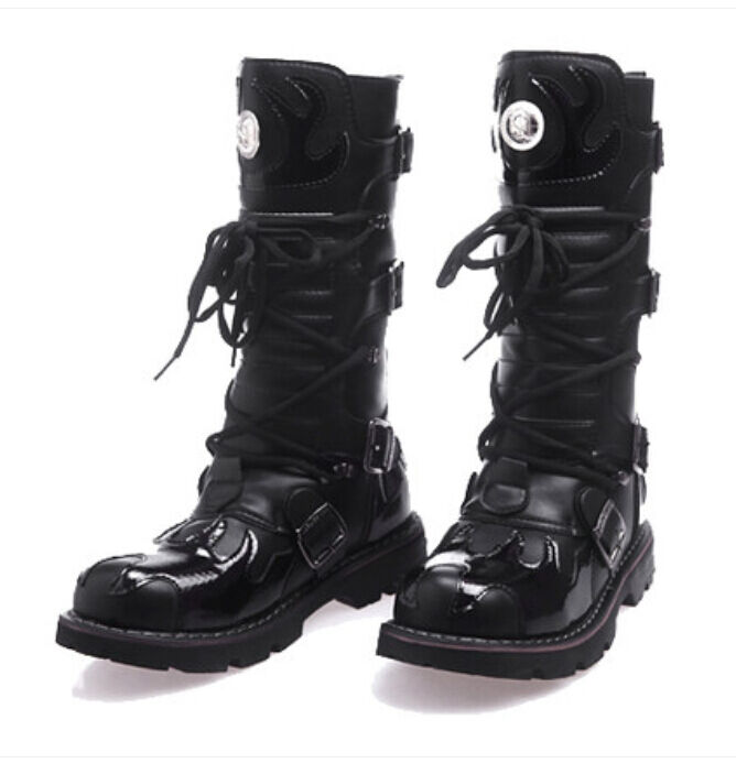 Uomo Gothic Punk Lace Up Knee HIgh Boot Military  Motorcycle Biker Shoes Nero