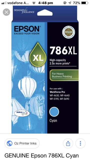 1 X Genuine Epson 786XL Cyan Ink Cartridge For Epson Pro WF-4630 WF-4640