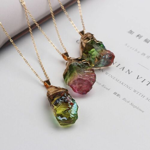Natural Charming Chakra Healing Pendant Necklaces Beads Irregular Colorful Rock