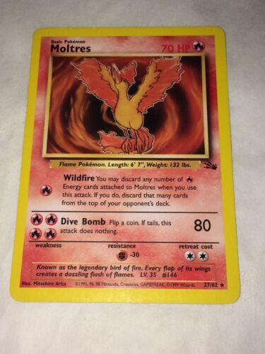 NM Moltres 27//62 Fossil Set Non-Holo Rare Pokemon Card