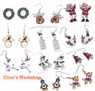ENAMEL CHRISTMAS THEME EARRINGS EAR STUDS SANTA REINDEER PENGUIN MISTLETOE BELL