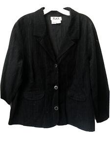 Flax Women's Large Black Cotton Corduroy Button Front Lightweight Blazer Jacket