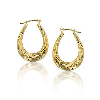 Enamel Ladybug Polished Shiny Hoop Earrings Real 14K Yellow Gold Super Light