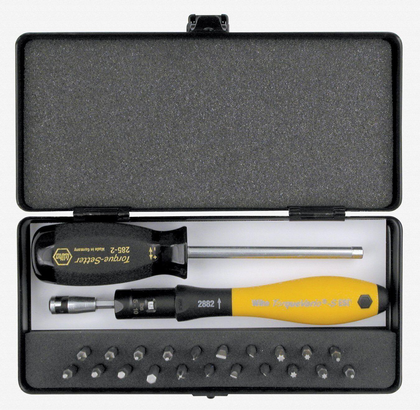 Wiha 28895 24 Piece ESD Torque ScrewDriver, Micro Bits and Handle Box Set