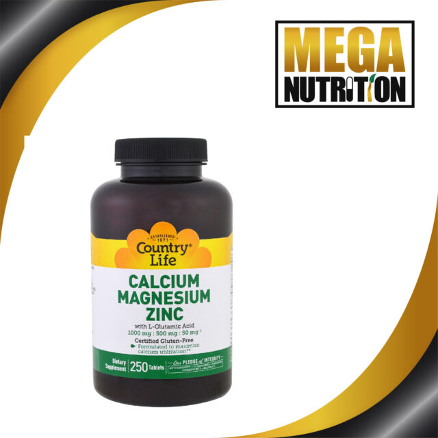 Country Life Calcium Magnesium Zinc 250 Tablets | Bone and Muscle Function