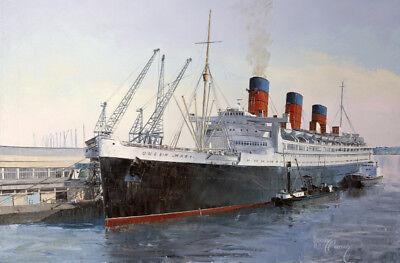 Queen Mary Cunard Ocean Terminal Southampton Painting Art Print