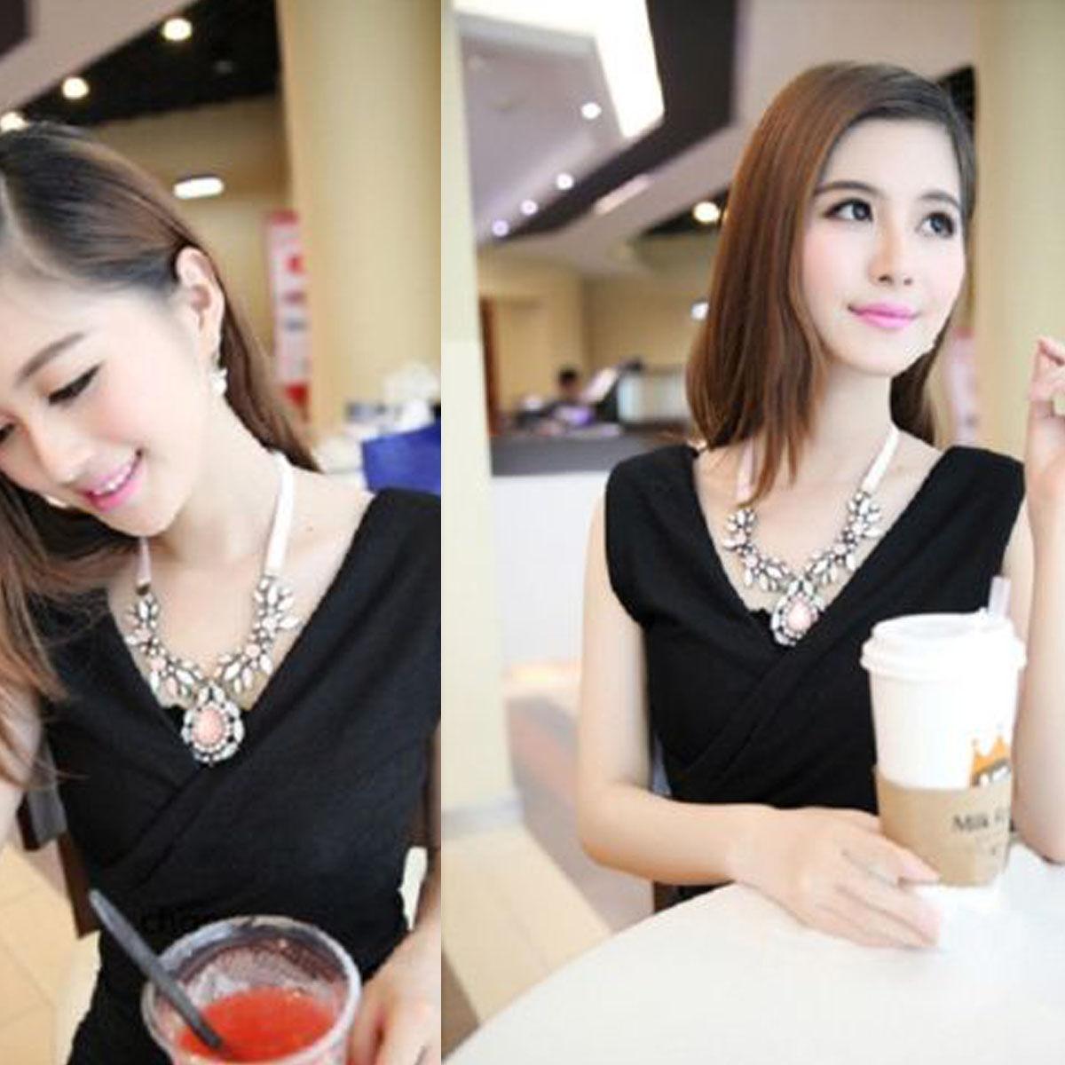Moda Mujer Collar Gargantilla Babero Colgante Cadena Declaración Necklace 6