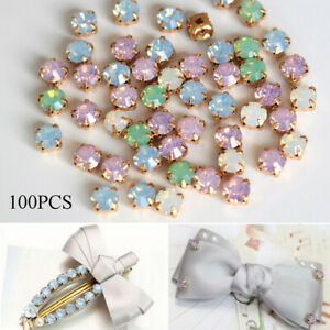 100pcs-6mm-Faceted-Crystal-Glass-Sew-On-Cup-Rhinestone-Flatback-Gold-Claws-Beads