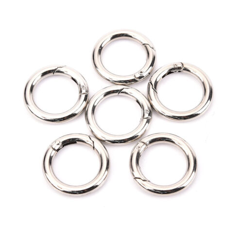 6pcs Mini Silver Circle Round Carabiner Spring Snap Clip Hook Keychain Hiking P1