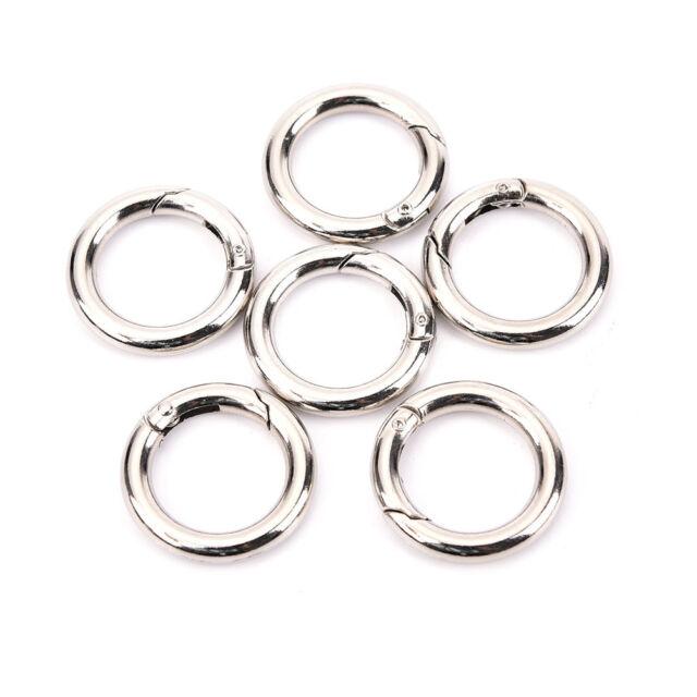 6pcs Mini Silver Circle Round Carabiner Spring Snap Clip Hook Keychain HikingPBh