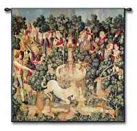 THE HUNT OF THE UNICORN OLD WORLD MEDIEVAL ART TAPESTRY WALL HANGING SMALL 35x35