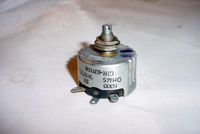 NOS IRC 5000 ohm 25 Watt Potentiometer Rheostat - wirewound
