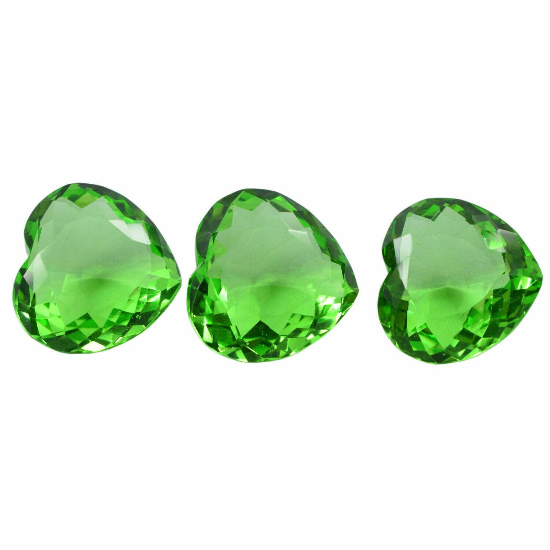Forma Corazón 175CT 27mm Certificado Verde Moldavite Suelto Gema 3 Piezas Lote